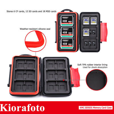 KIORA Water-Resistant Memory Card Case With Carabiner for 6 CF&12SD&18 MSD Cards