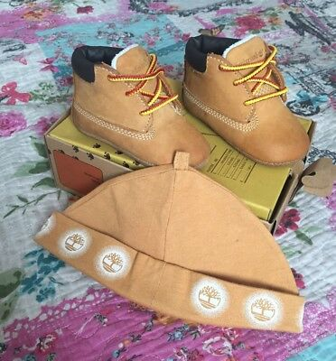 Baby Boys Timberland Crib Booties With Matching Hat Size Uk 1.5