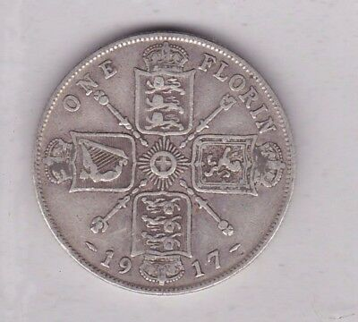 1917 George V Silver Florin In A Used Condition