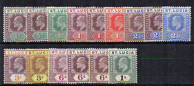 "St Lucia 1904-10 values to 1s + ""a"" numbers MH"