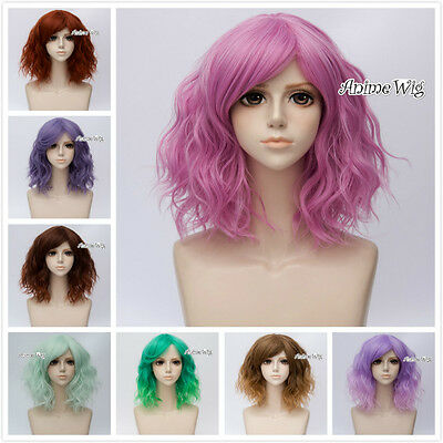 Halloween Lolita Party 35cm Short Ombre Fancy Curly Lady Cosplay Wig+wig cap