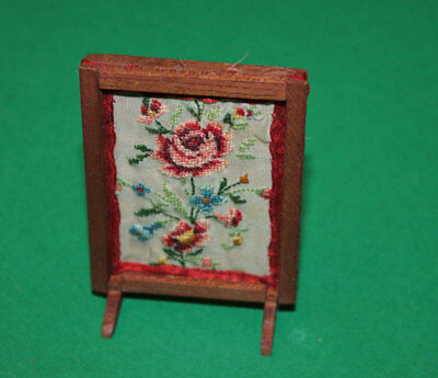 Vintage Dolls House Hand Made Embroidered Fire Screen