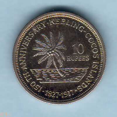 Cocos Keeling Islands. 1977 10 Rupees.. Silver Proof
