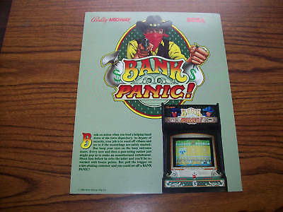 1985 Bally Midway Bank Panic Video Arcade Game Flyer