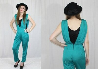 Vintage 80s Green Black Colorblock DRAPED Retro Party Dress JUMPSUIT Romper S M