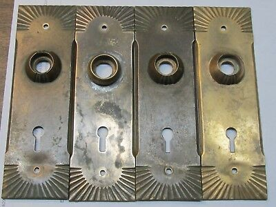 4 Vintage Brass  Ornate Door Knob Face Plates