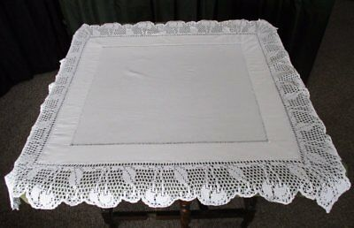 ANTIQUE TABLECLOTH-HAND CROCHET EDGE with CHERRIES IN DESIGN