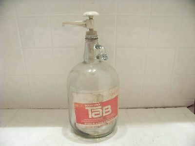 Vintage 1 gallon soda syrup bottle sugar free with label and pump advertising