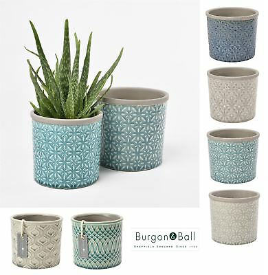 Burgon and Ball Tuscany or Porto Ceramic Glazed Tile Plant Flower Pot, 2 Sizes