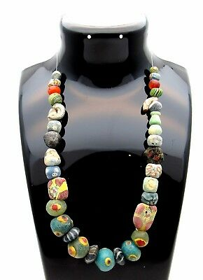 "Rare Ancient Roman Mosaic ""millefiori"" Glass Necklace - Wearable - Gl1"