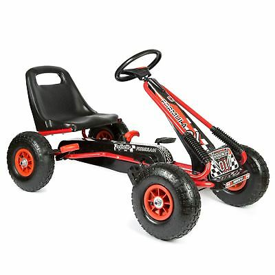 Childrens Kids Red Pedal Go Kart Cart With Inflatable Wheels And Hand Brake