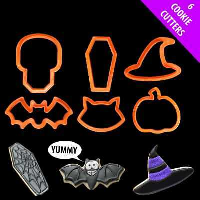 Set Of 6 Child Safe Plastic Halloween Cookie Biscuit Cutters Ghost Pumpkin 11999