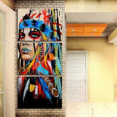 """MODERN ABSTRACT WALL DECOR ART PAINTING ON CANVAS """"no frame"""" Indian Woman M"""