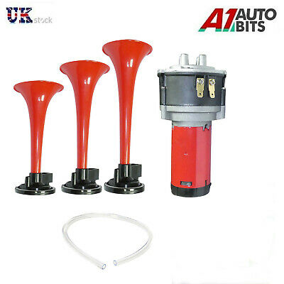 Triple Trumpet Air Horn 12 V 178dB Car Truck RV Train Boat Loud Replacement
