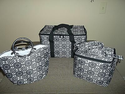 Longaberger Insulated 3 PC.  COOLER SET - Black Medallion - Stay Cool Set - Nice