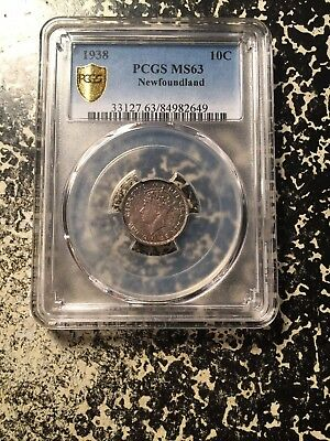 1938 Newfoundland 10 Cent Silver! PCGS MS63 Lot#G392 Beautiful Toning!