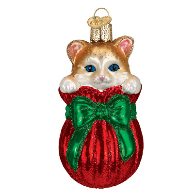 """""""Letting the Cat Out of the Bag"""" (12370)X Old World Christmas Glass Orn w/OWC Bx"""