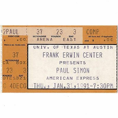 PAUL SIMON Concert Ticket Stub AUSTIN TEXAS 1/31/91 BORN AT THE RIGHT TIME TOUR
