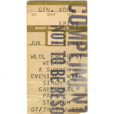 SIMON & GARFUNKEL Concert Ticket Stub MINNEAPOLIS MN 7/28/83 PARADE STADIUM