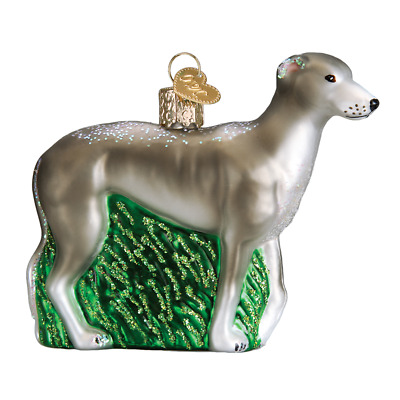 """Greyhound"" (12483) Old World Christmas Glass Ornament w/ OWC Box"