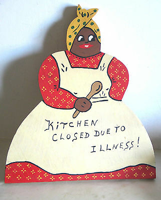 BLACK AMERICANA MAMMY Wood KITCHEN CLOSED Sign 2 sides hand painted 12.5 FREE SH