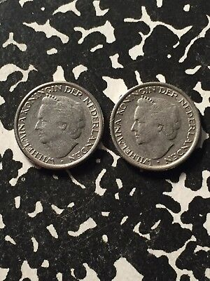 2x 1948 Netherlands 10 Cent 1 Mule 1 Regular Variety Lot#N120a Interesting Piece