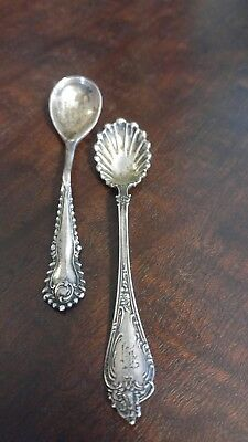 Two Antique Salt Spoons One Sterling Silver One Silver Plate
