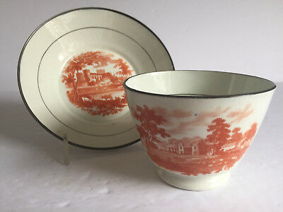 Antique Orange Bat Print English Earthenware Pearlware Cup and Saucer c1820s