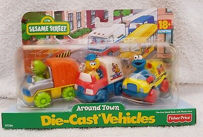 Fisher price /tyco sesame street 37256 diecast vehicles around town set. NEW