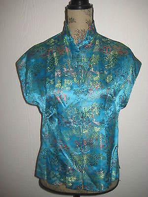 Peony Brand SHANGHAI CHINA TURQUOISE EMBROIDERY RAGLAN CAP SLEEVE BLOUSE MED