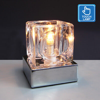 Dimmable Touch Table Light Glass Ice Cube Bedside Study Office Dimmer Desk Lamp