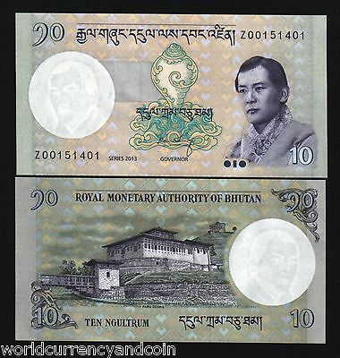 Bhutan 10 Ngultrum P29 2013 *replacement Z King Unc Currency Money Bill Banknote