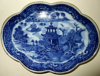 ANTIQUE CHINESE EXPORT BLUE & WHITE SPOON TRAY / C 18th