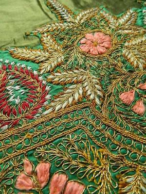 Antique Ottoman Islamic opulent gold metallic wirework embroidery table cover
