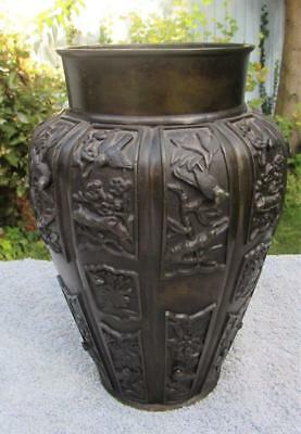 Superb Antique 19thC Japanese Meiji Bronze Vase  - High Relief Decoration