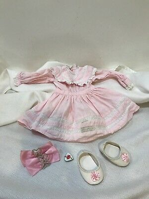 American Girl Nellie Pink Spring Party Dress White Shoes Hair Bow Pendant Charm