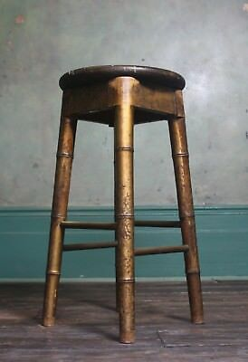 Edwardian Bar Stool by Hands of High Wycombe Faux Bamboo Elm Brass Antique