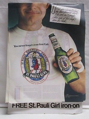 Vintage 1982 St. Pauli Girl Beer T-Shirt Iron On Transfer Store Display Pad 70