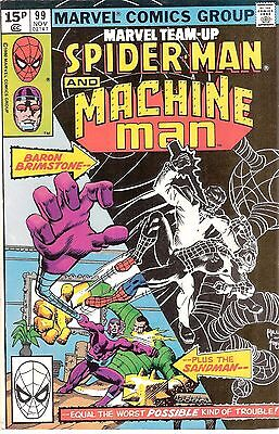 Marvel Team-up #99 Spider-man & Machine Man vs. Sandman & Baron Brimstone 1980!!