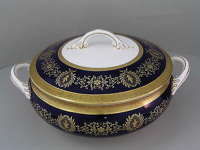 Coalport Lady Anne Cobalt Blue Lidded Vegetable Tureen.