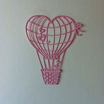 8 X Large Heart Hot Air Balloon Die Cut Shapes-Baby Girl Birth Congratulations