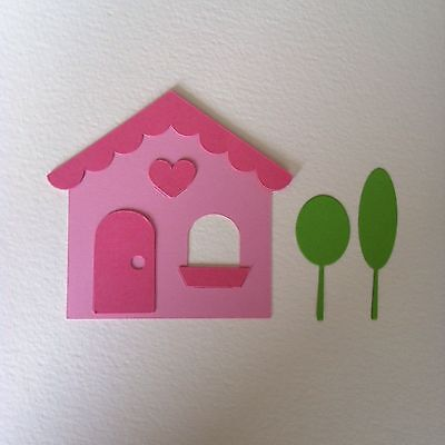 6 X Layered House With Lollipop Trees Die Cut Shapes-New Home