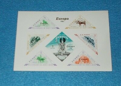 Lundy Mint Stamp Miniature Sheet Europa 1961 Imperforate