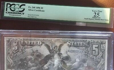 Fr. 268 1896 $5 Educational Silver Certificate Lot 38 VF PCGS