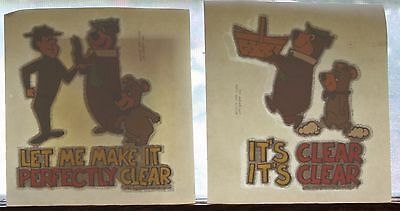 Lot of 2 Yogi Bear & Boo Boo Glitter Edge Iron On Transfer Ranger It's Clear
