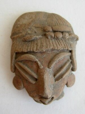 Antique Mesoamerican Mayan Indian Clay Pottery Figural Head Fragment