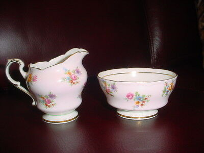 PARAGON England OPEN SUGAR BOWL and CREAMER Pale Pin with Delicate Floral Design