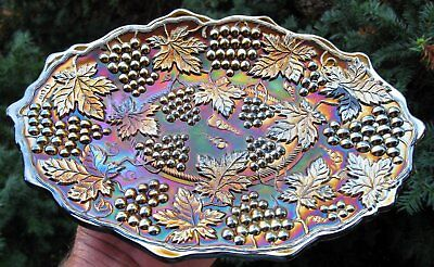 Fantastic Antique Northwood Grape & Cable Pattern Carnival Glass Lg Dresser Tray