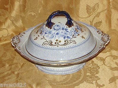 Jb Berlin Wreath Covered Vegetable Serving Bowl Rare Antique Blue & White China
