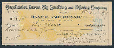 Mexico: 1900 Banco Americano. Old Cheque in Pesos with Duty Stamp SCARCE